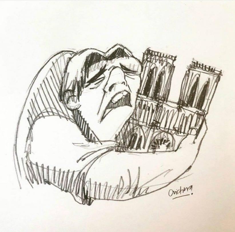 Quasimodo abbraccia la cattedrale di Notre Dame