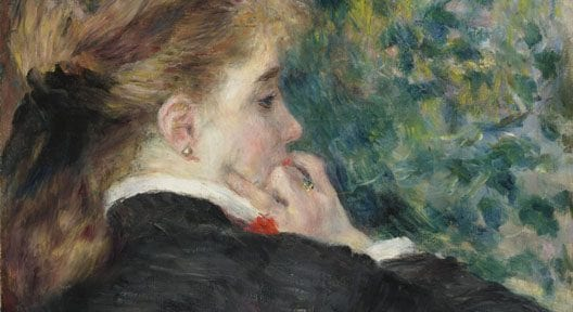Pierre-Auguste Renoir (1841–1919). Pensierosa (Pensive (La Songeuse)), 1875. Olio su carta applicata su tela, 46x38 cm. Virginia Museum of Fine Arts, Collection of Mr. and Mrs. Paul Mellon, 83.47. Image © Virginia