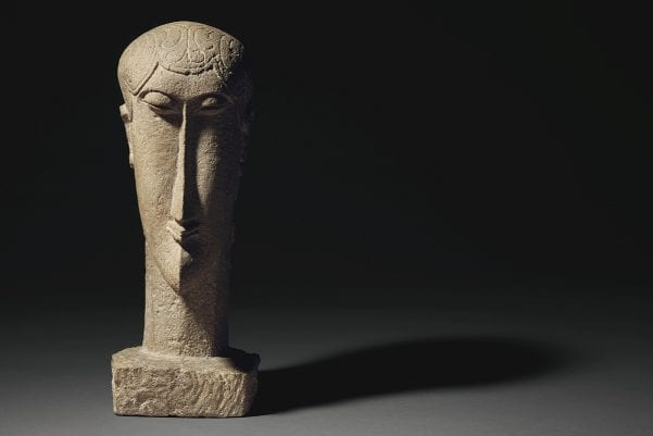Property from a European Private Collection | Amedeo Modigliani,Tête, limestone, carved circa 1911-1912 | $30,000,000-40,000,000