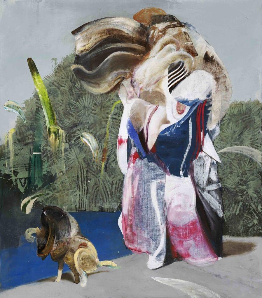 Adrian Ghenie, Figure with Dog, 2019, Oil on canvas, 250×200 cm (98,4 x 78,7 in) Courtesy Galerie ThaddaeusRopac, London· Paris Salzburg © Adrian Ghenie