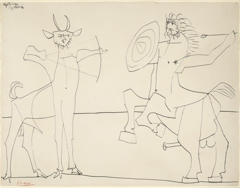 Pablo Picasso (1881 - 1973) Combat de Faune et de Centaure, 1946