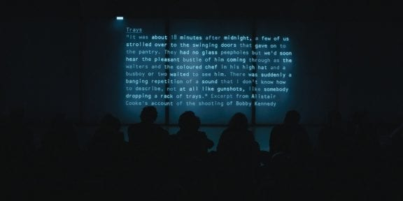 Lawrence Abu Hamdan, documentation of After SFX, 2018, a 30-minute live performance at Tate Modern, London, October 2018. Photo: Jarred Alterman.