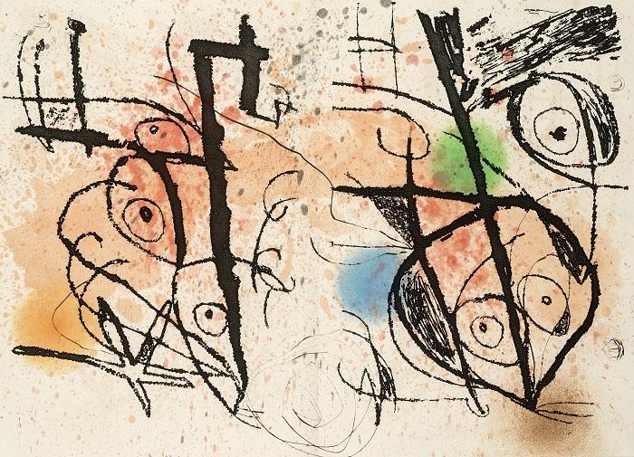 MIRÓ, Joan (1893-1983) [UNA SERIE DI LITOGRAFIE DA:] Le courtisan grotesque. Parigi: Iliazd, 1974. Una serie di litografie dall'opera di Mirò Le courtisan grotesque. Dalla copia n. 74 dall'edizione di 110 copie firmata a matita dall'artista. Ottime condizioni. Stima € 1.800-2.500
