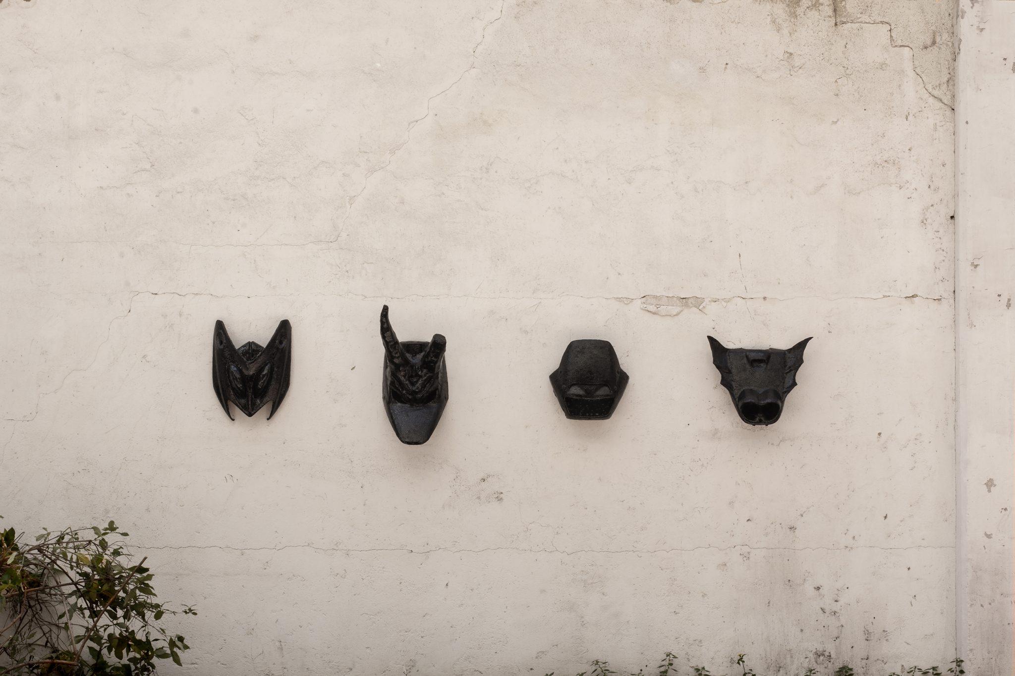 NITRO, SPIRIT, PEGASO, ROCKET (2019) intervento a tecnica mista su carene di scooter, intallation view @ Eptacaidecafobia (Biennolo), Milano Photo credit: Natalia Trejbalova