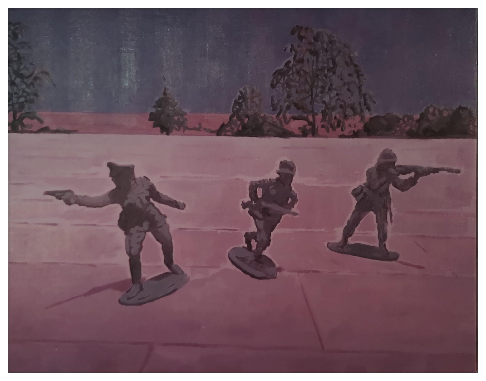 In bilico nel viola. I soldatini fluttuanti tra spazio e memoria di Filippo Cristini da Current