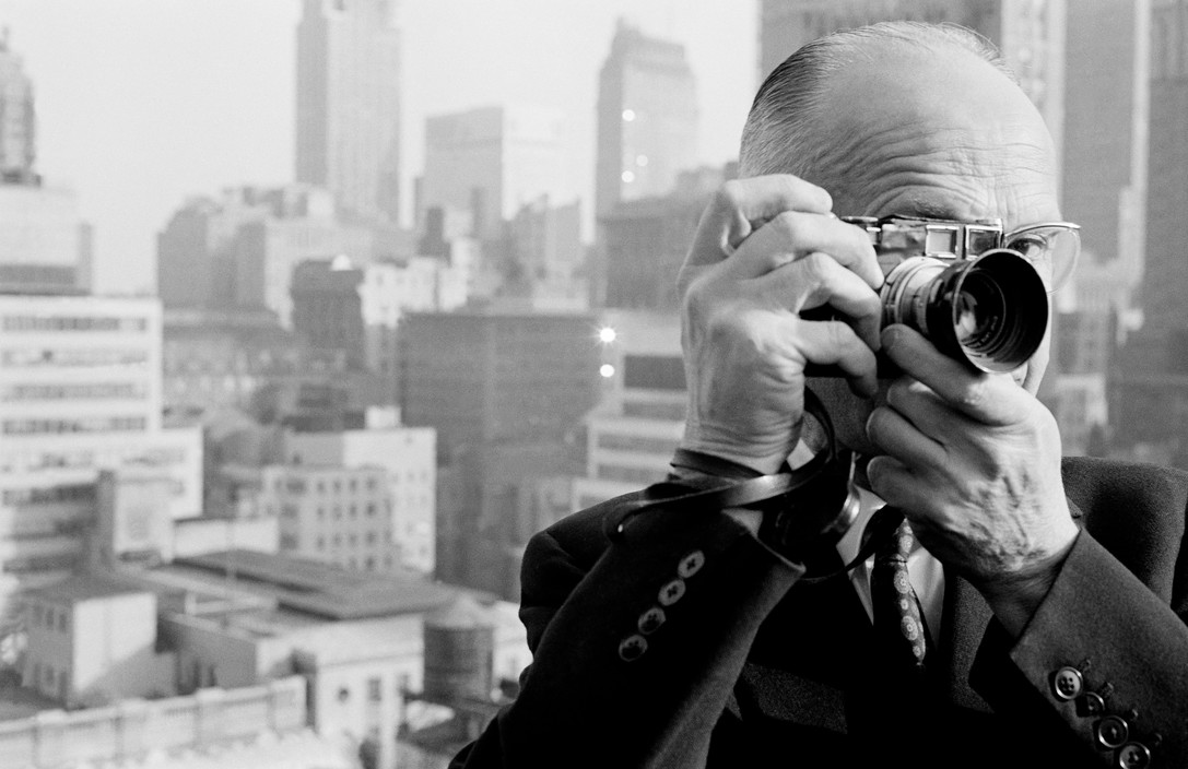 Dennis Stock Portrait of the French photographer Henri Cartier Bresson a founder member of MAGNUM Photos on the roof of the Magnum office penthouse of Magnum Photos in Manhattan on West 57th Street.1961