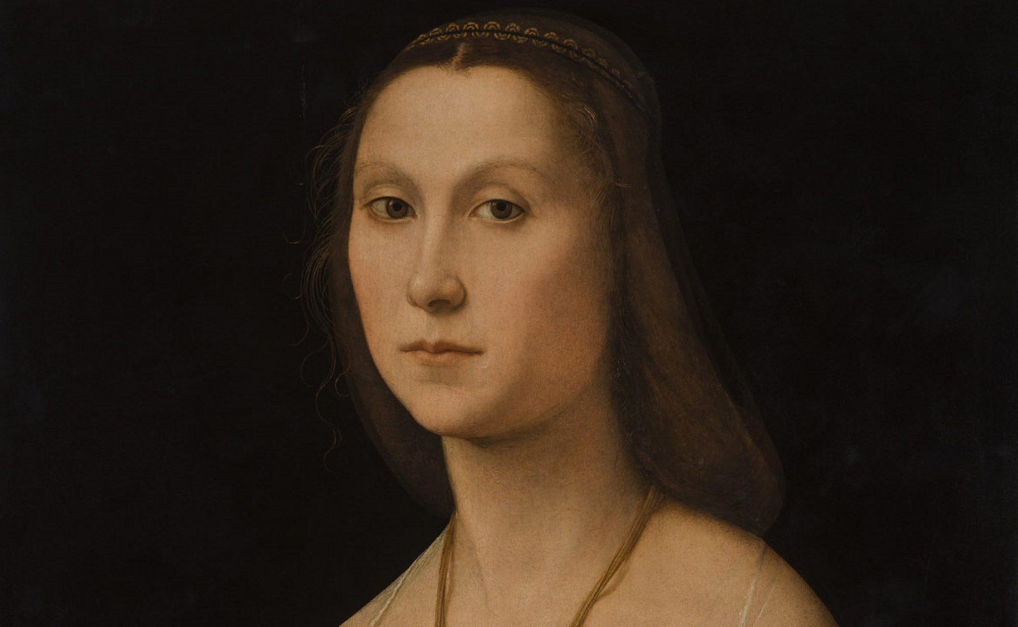 Raffaello Sanzio, La Muta, 1507, olio su tavola, Galleria Nazionale delle Marche, Urbino (particolare)