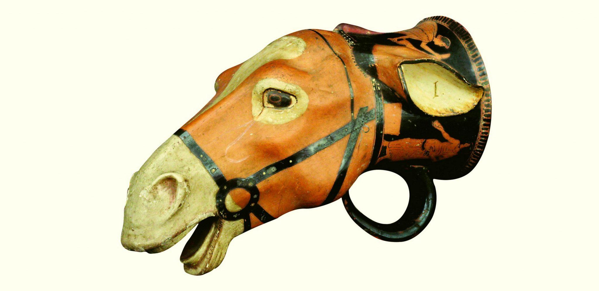 Rhyton a forma di testa d'asino Terracotta, 20 Ruvo 480-470 a.C., Napoli, Museo Archeologico Nazionale © Ministero per i Beni e le Attività Culturali