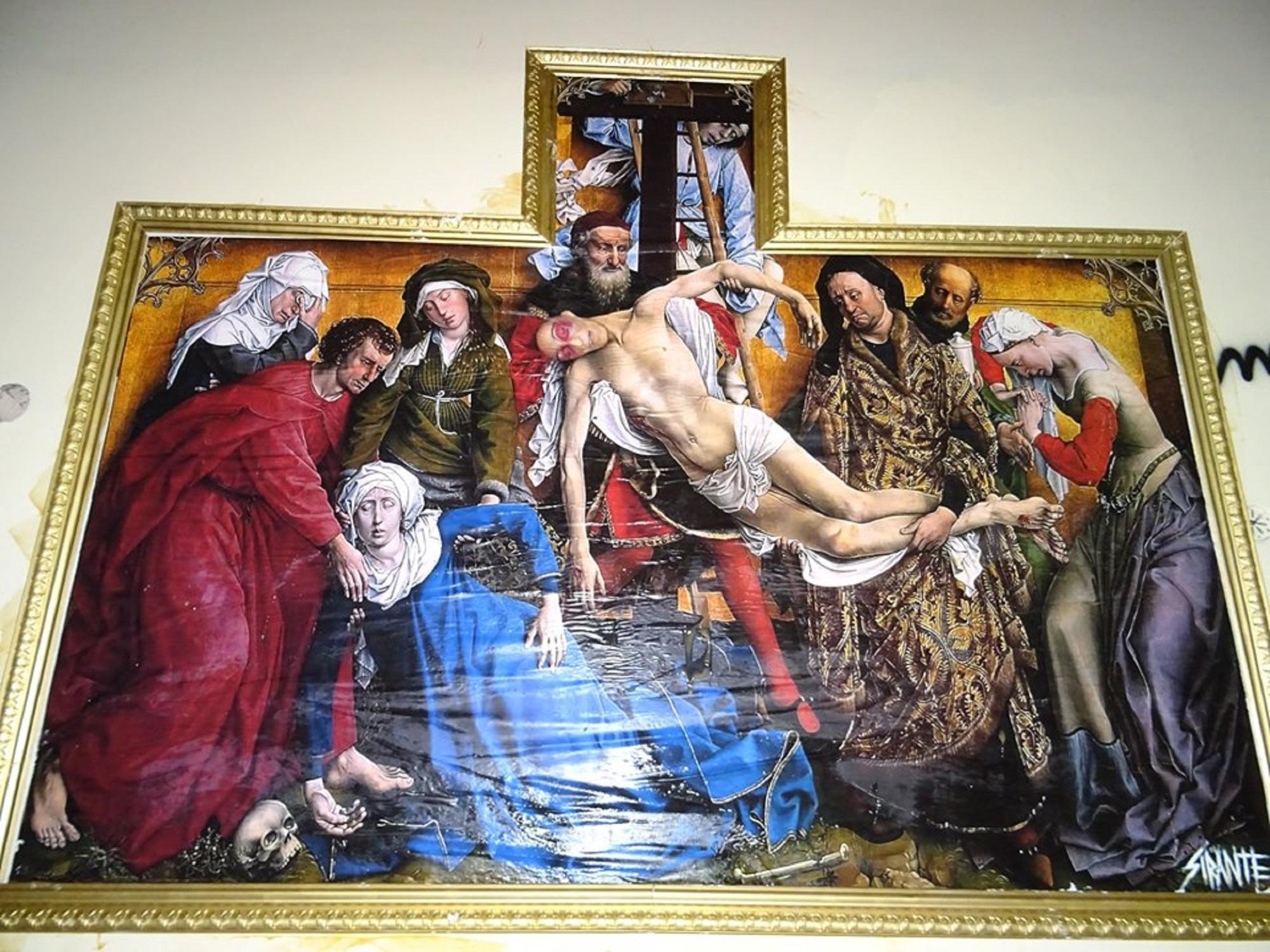 Deposizione con il volto di Stefano Cucchi al posto di Cristo