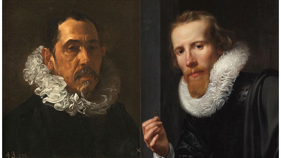 A sinistra Diego Velázquez, Francisco Pacheco. A destra Bartholomeus Jansz van Assendelft Werner van den Valckert, Portrait of a Goldsmith