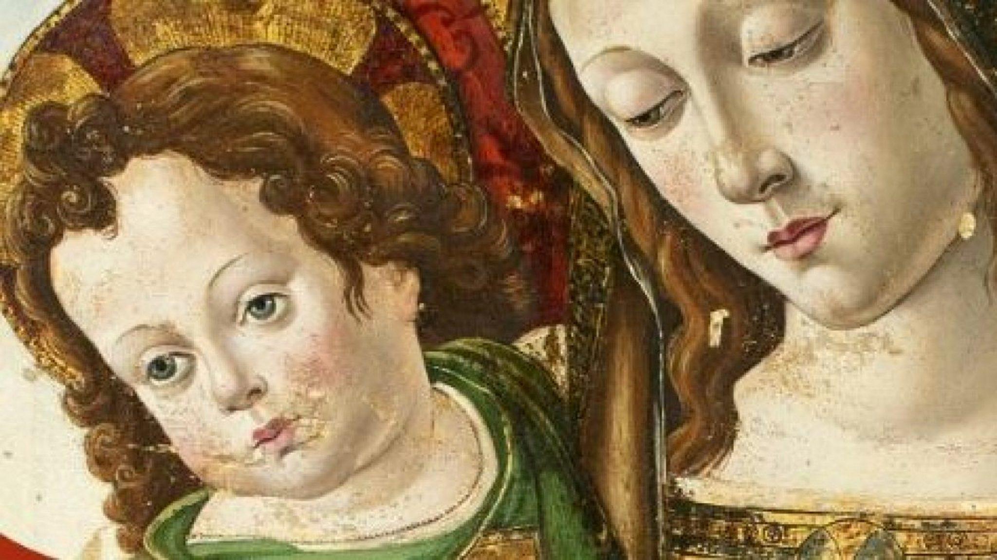 Particolare della Madonna col Bambino di Pinturicchio