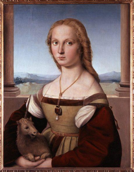 Raffaello Sanzio, Dama con liocorno, olio su tela applicata su tavola, 67 x 56 cm, Galleria Borghese, © Ministero per i beni e le attività culturali - Galleria Borghese