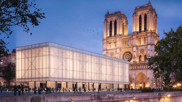 Progetto per il padiglione temporaneo sul sagrato della Cattedrale di Notre-Dame
