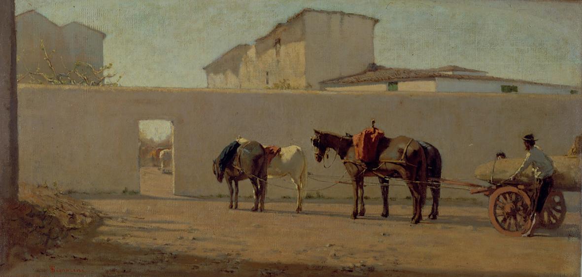 Telemaco Signorini, Un mattino di primavera. Il muro bianco, 1866 ca., olio su tela, cm 27 x 66