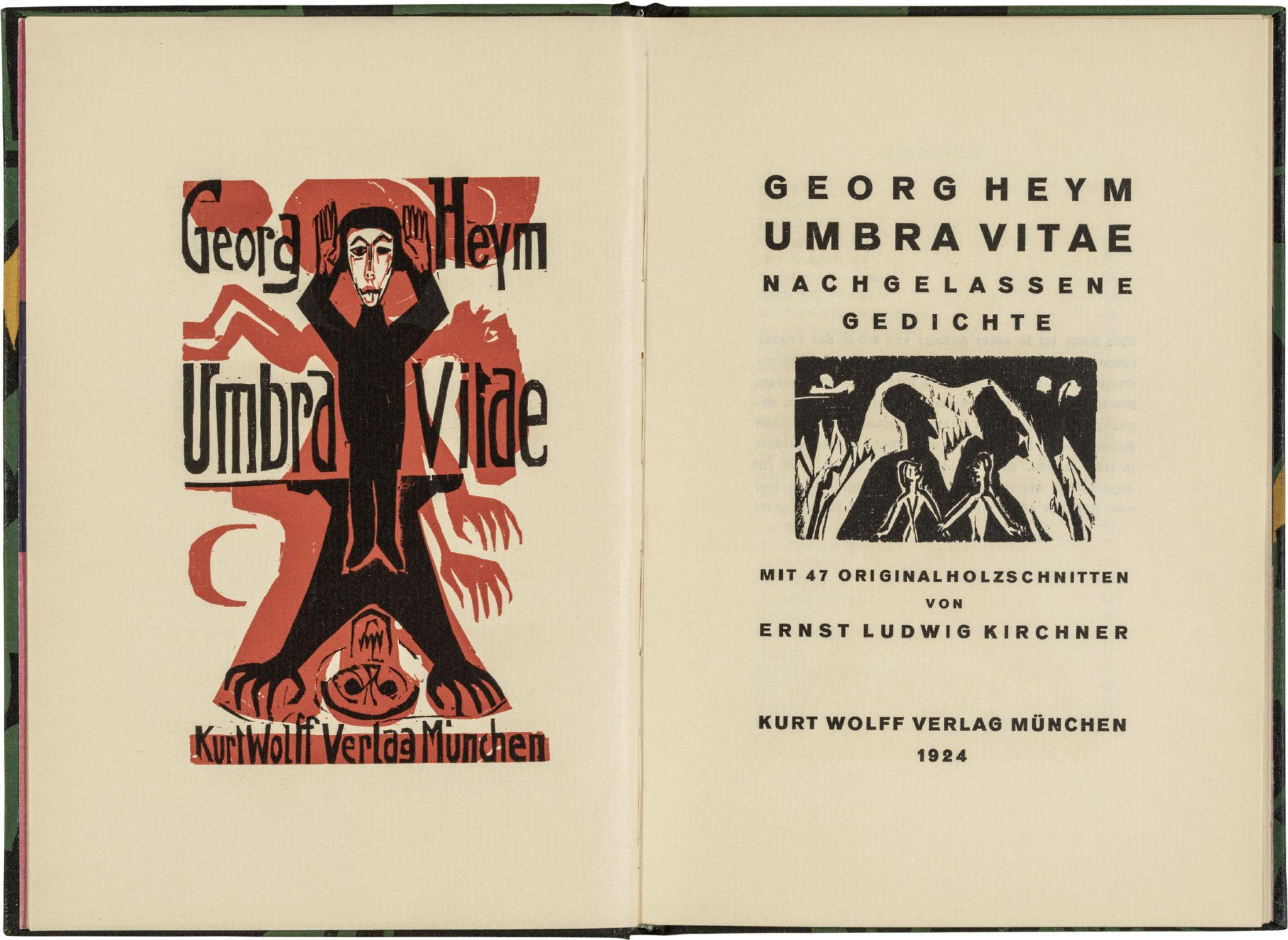 "Ernst Ludwig Kirchner, xilografie orginali per ""Umbra vitae"" di Georg Heym, 1924"