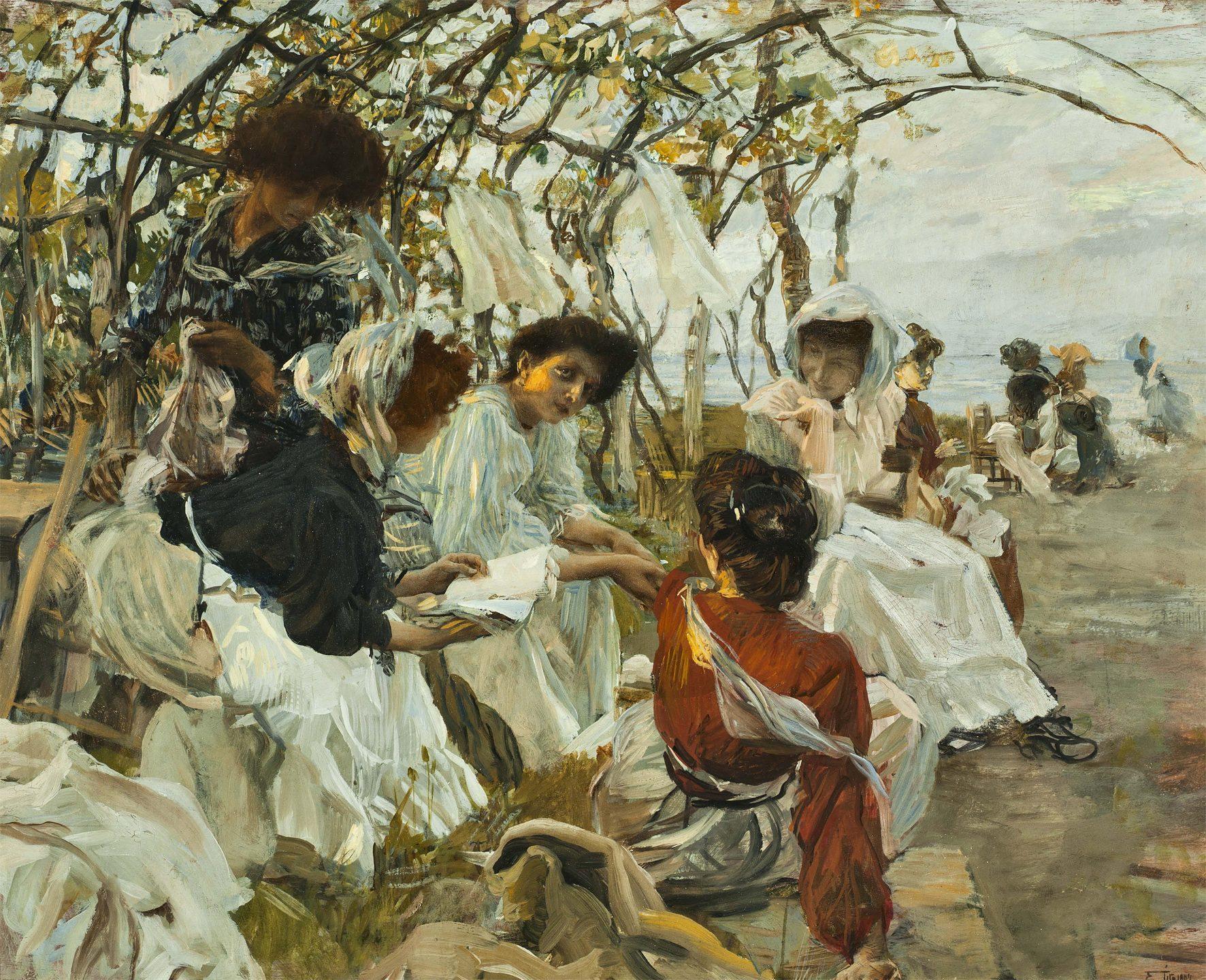 Ettore Tito, Pagine d'amore (o La lettura), 1907, Amore Passione e Sentimento. Da Hayez a Cremona e Previati Palazzo della Meridiana 2019