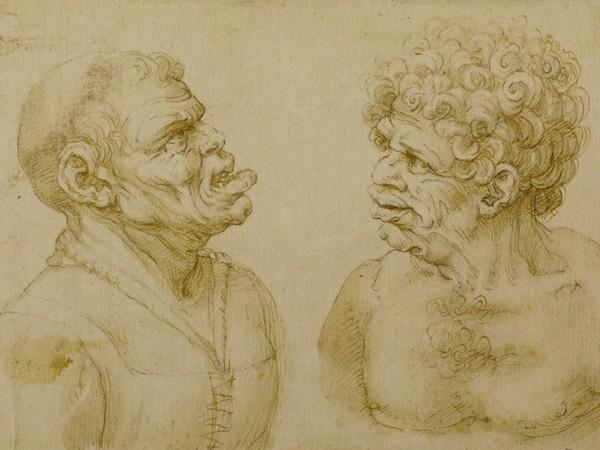 Wenzel Hollar (da Leonardo da Vinci), Due teste di carattere, 1645-1666 circa, Pietra nera, penna, pennello e inchiostro su carta, 193 x 118 mm, Milano, Castello Sforzesco, Gabinetto dei Disegni