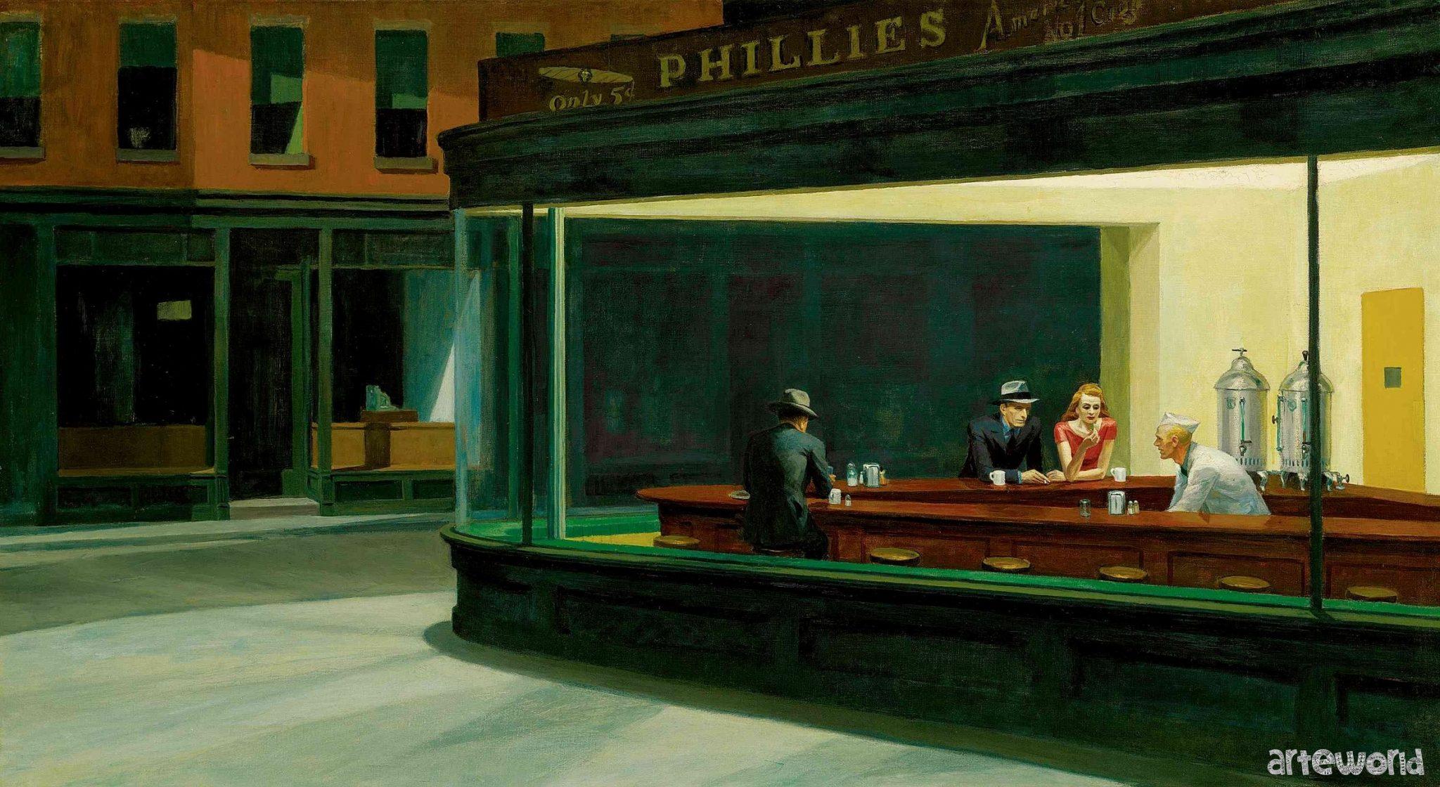 Nighthawks di Edward Hopper, una delle immagini più famose dell'arte del XX secolo