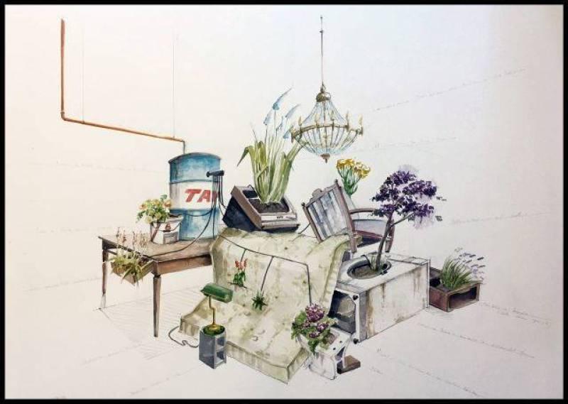 Rendering installazione Giardino Abusivo © Eugenio Tibaldi