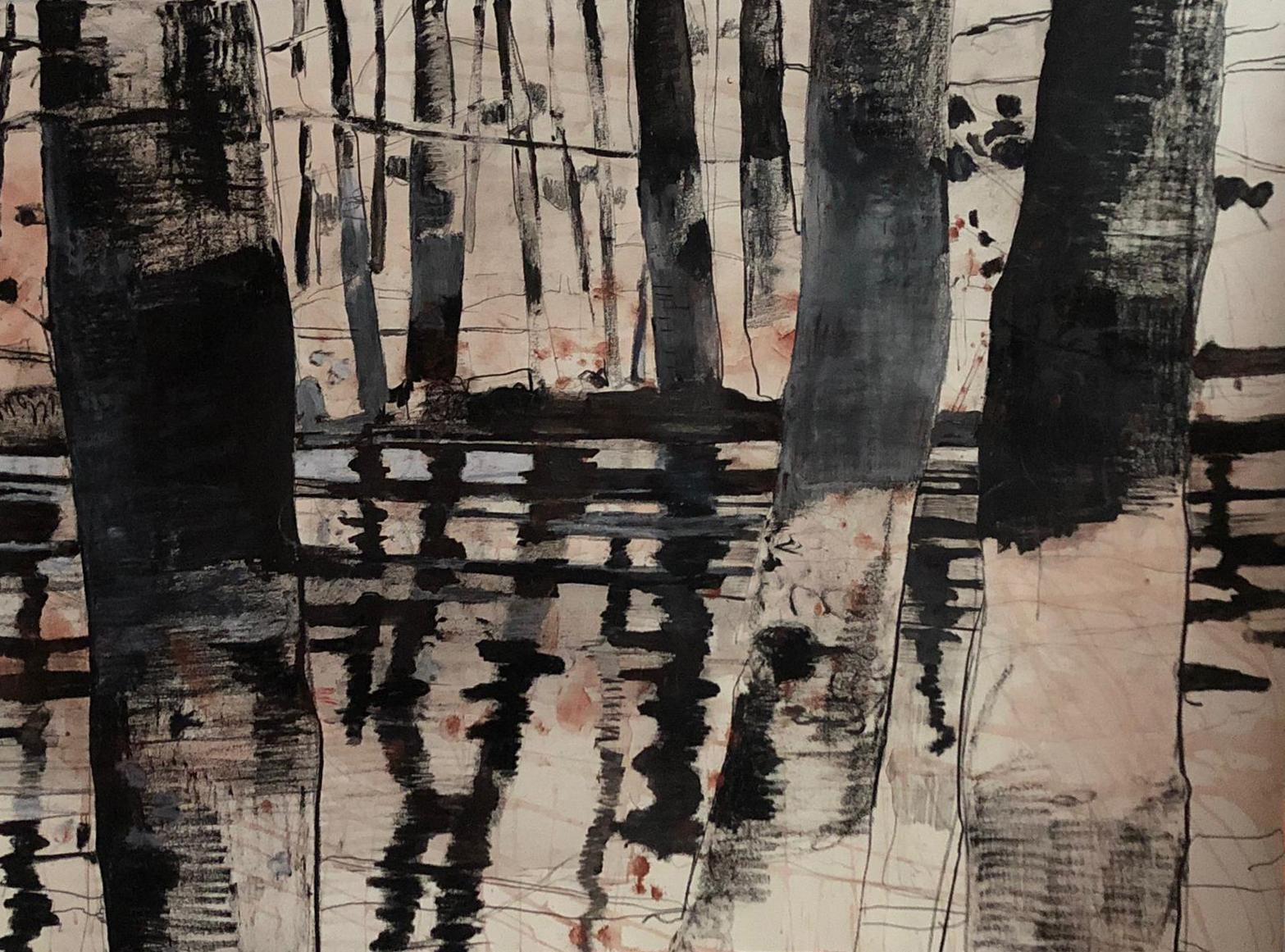 Giovanni Frangi, Giardini pubblici, 2019, tecnica mista su carta, cm 110x160. Galleria Poggiali