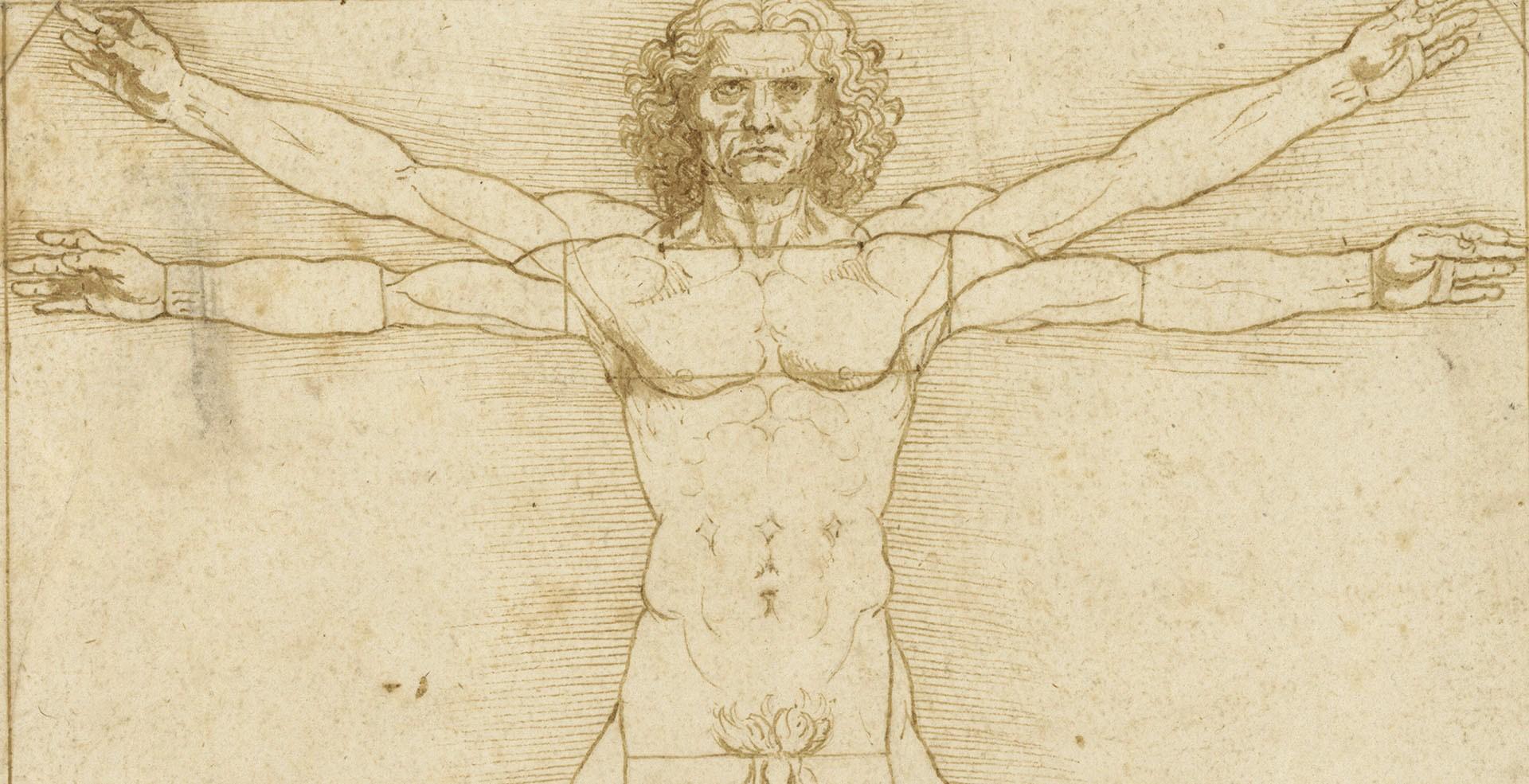 Particolare de L'uomo vitruviano, di Leonardo
