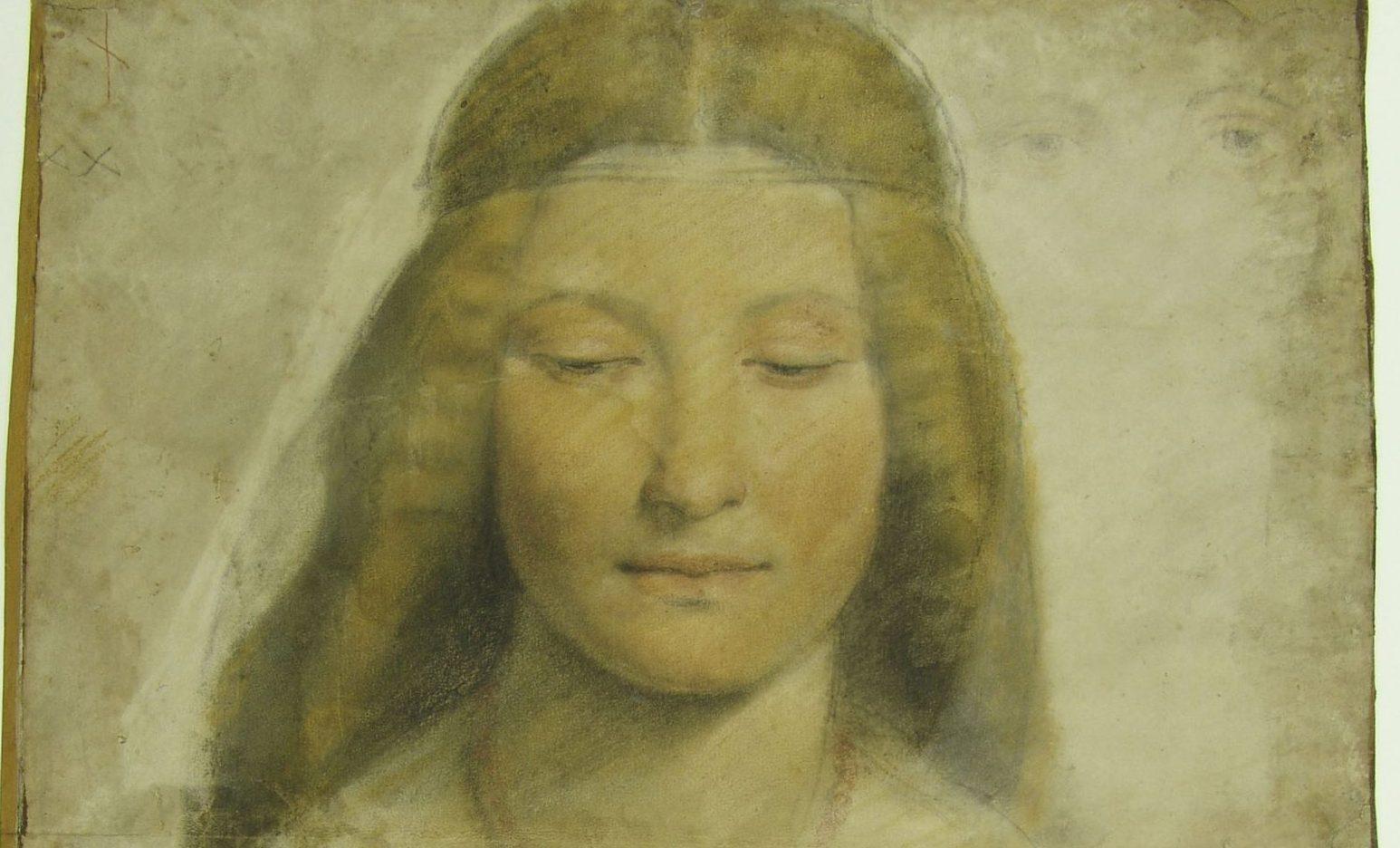 Giovanni Antonio Boltraffio, Studio per ritratto di donna a mezzo bousto, 1498-1502, leonardo da vinci e il suo lascito. gli artisti e le tecniche piancoteca ambrosiana