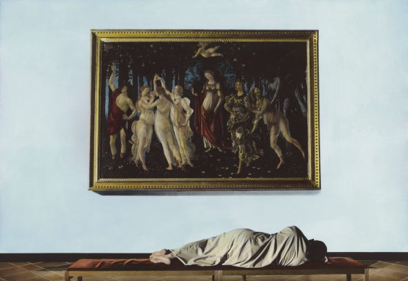 Youssef Nabil - Self Portrait with Botticelli, Florence 2009 Hand coloredgelatinsilverprint Courtesy of the Artist