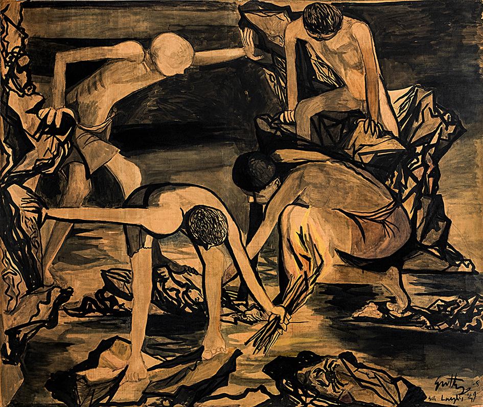 Renato Guttuso, Ragazzi che cercano granchi, 1949, olio su carta intelata, cm 147x176, CAMeC La Spezia, collezione Premio del Golfo. Ph. Enrico Amici