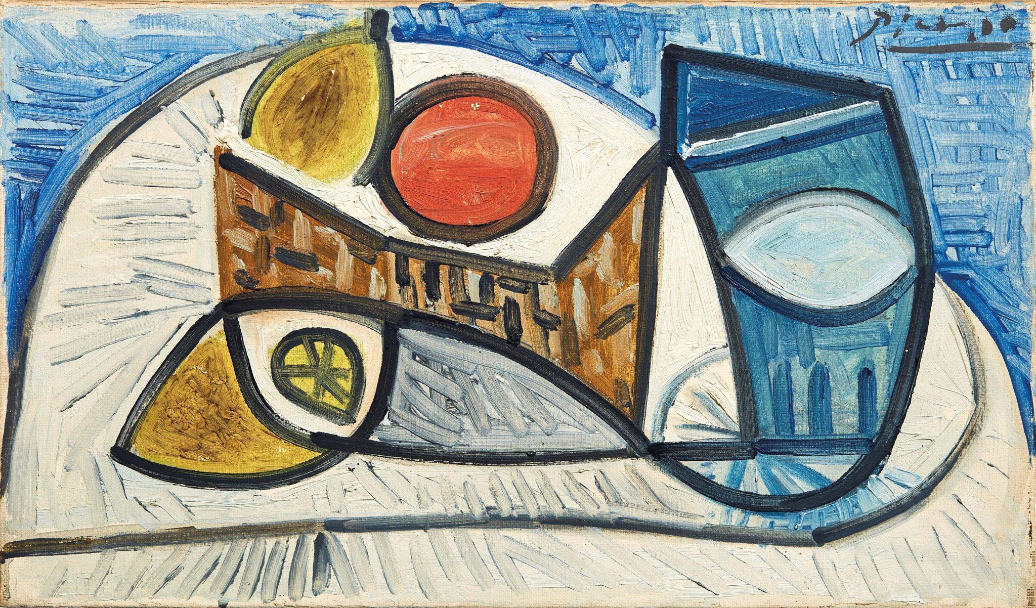 """Pablo Picasso (Malaga 1881 - Mougins 1973) NATURE MORTE AU CITRON, À L'ORANGE ET AU VERRE 1944 firmato in alto a destra olio su tela cm 24x40,7 retro: datato """"24.1.44"""""""