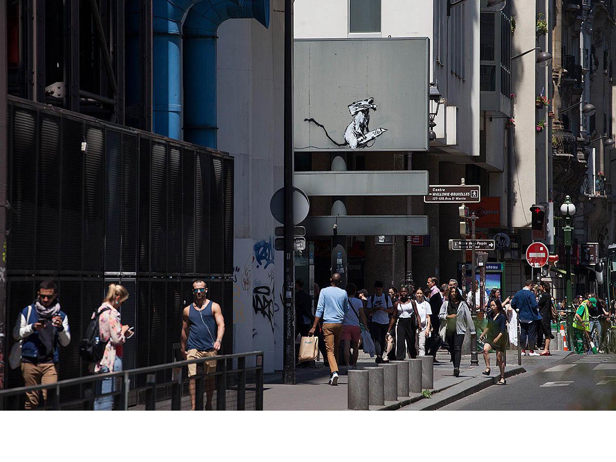 Il Centre Pompidou con il ratto di Banksy