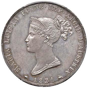 Per ricordare la morte di Napoleone, un tempo suo marito, nel 1821 Maria Luigia di Parma 1821 fece coniare tre esemplari delle 5 lire d'argento. Un esemplare di questo prezioso conio è proposto a 250.000 euro.