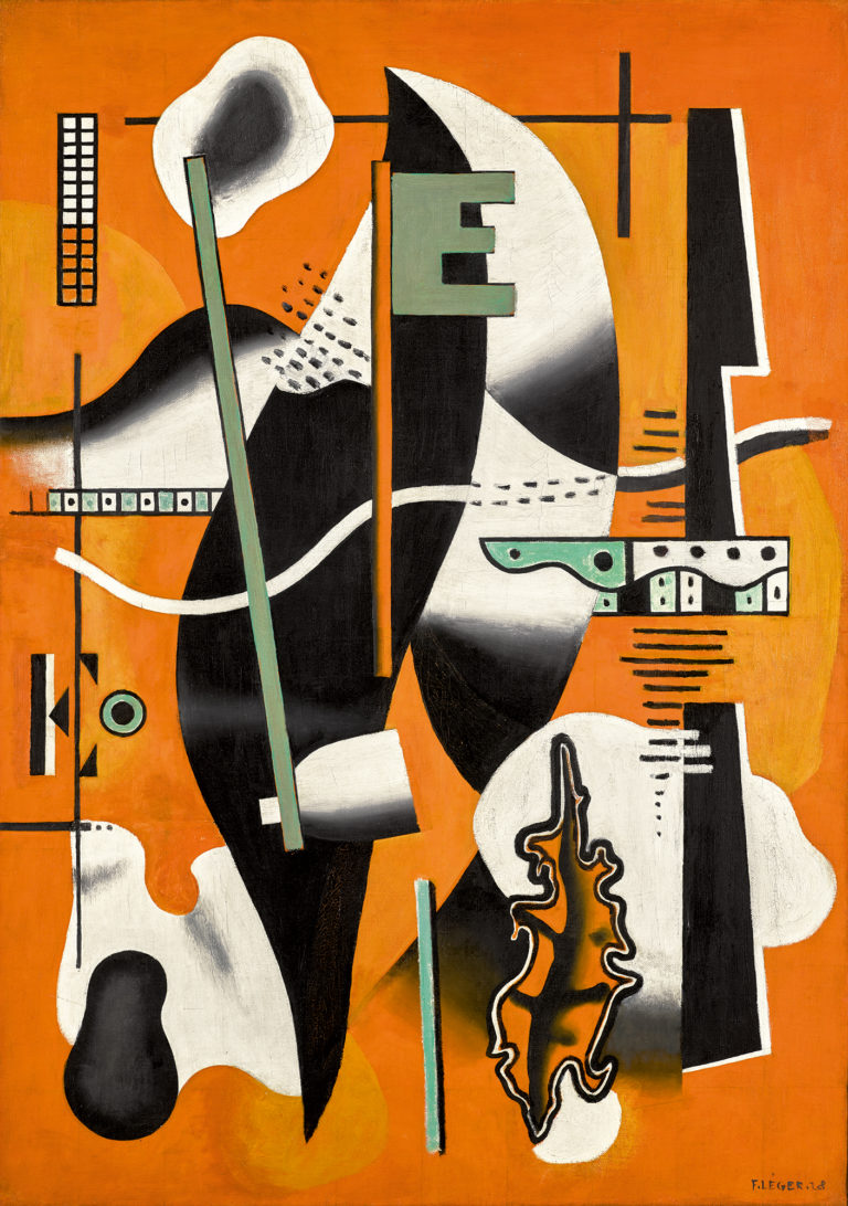 Fernand Léger, Nature morte à la pipe sur fond orange