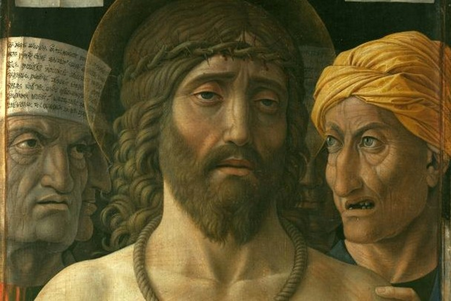 Andrea Mantegna, Ecce homo, 1500-1502 Tempera su tela di lino, Musée Jacquemart-André, Parigi (particolare)