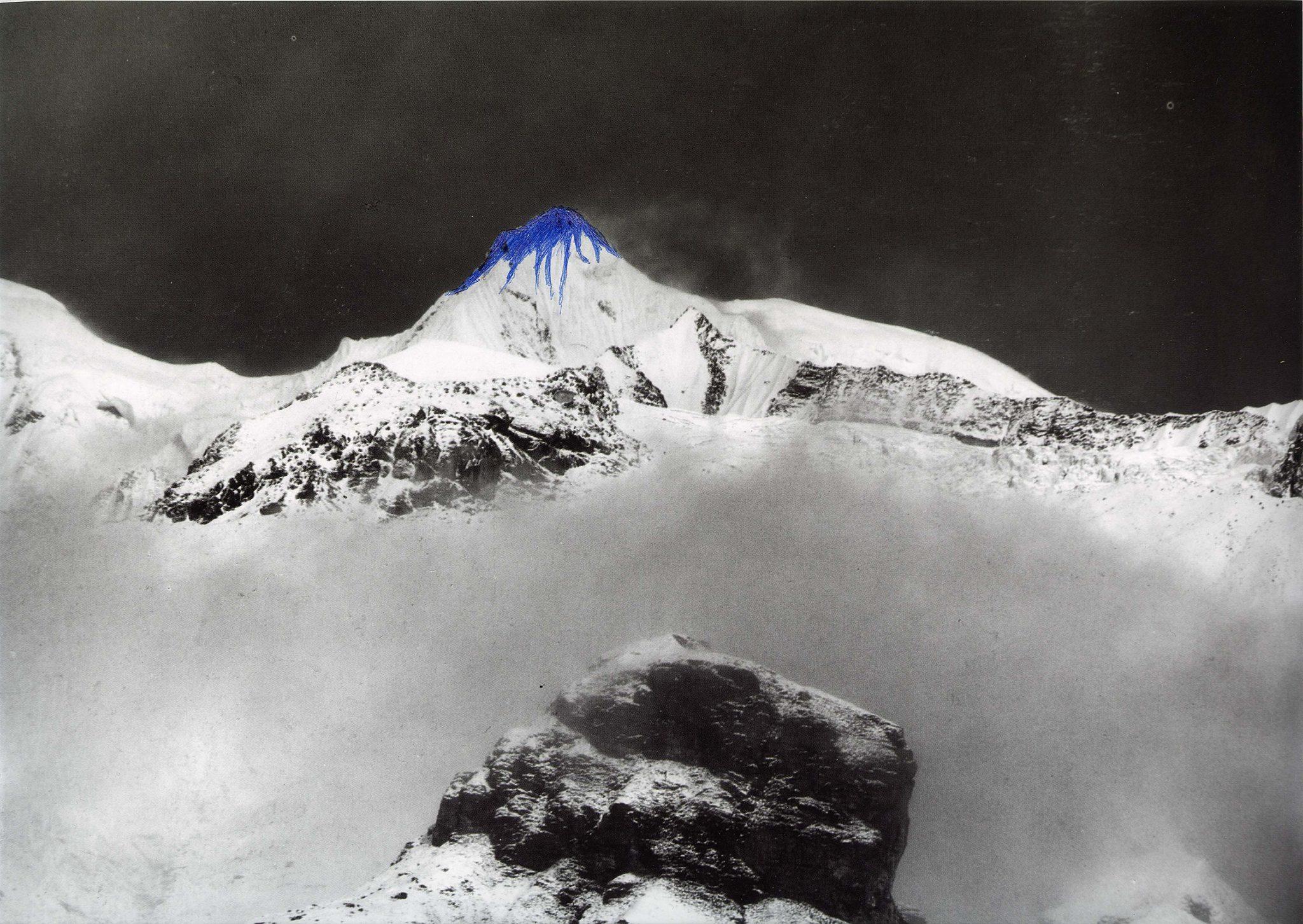 Jan Fabre, Vallnord, Pyrenees, Andorra, 1989, Penna a sfera su foto in bianco e nero. ┬® Angelos Bvba
