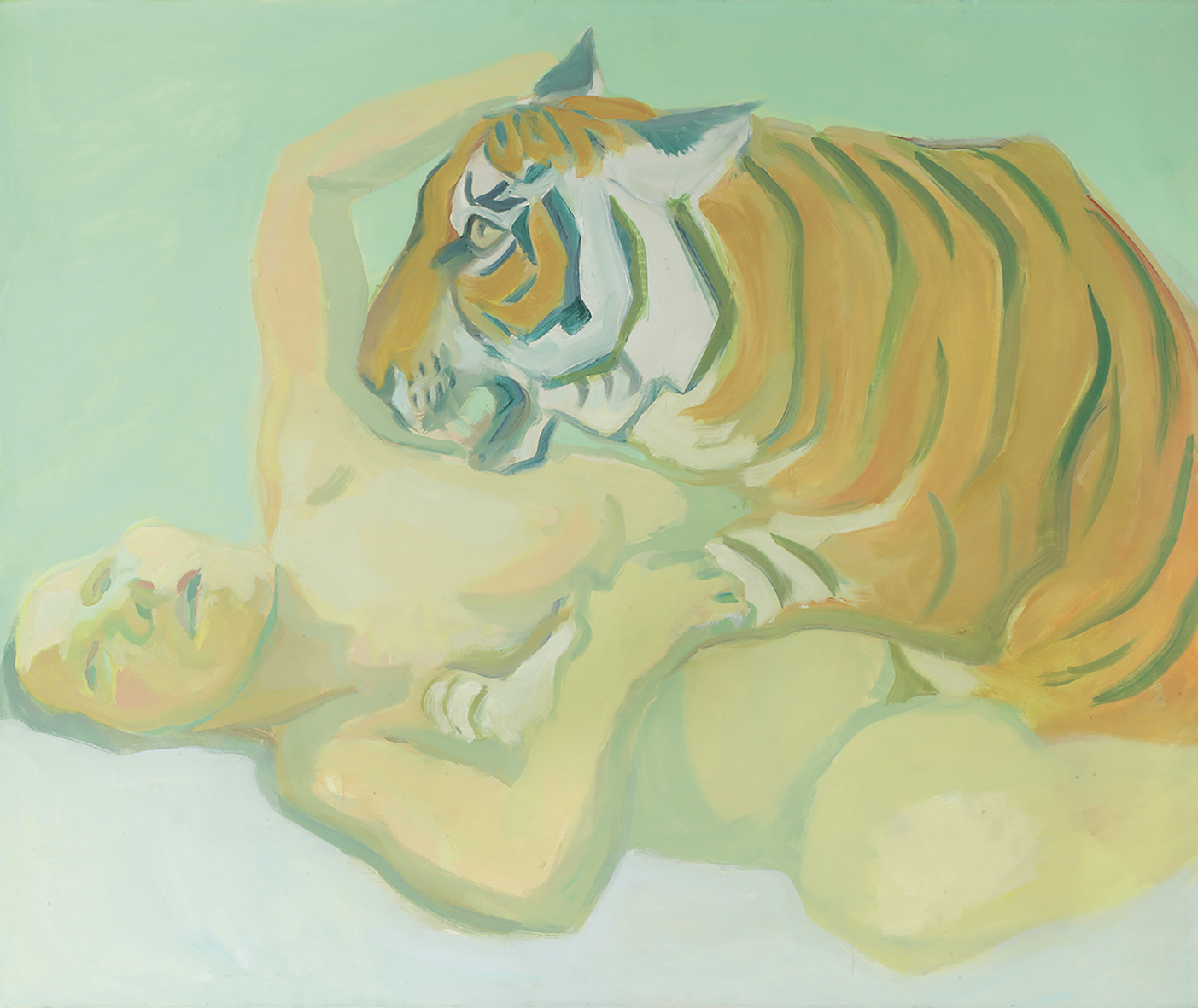 Maria Lassnig, Sleeping with a Tiger, 1975. Maria Lassnig Foundation