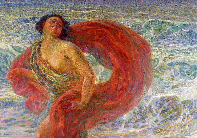 """Plinio Nomellini, """"Isadora Duncan. Gioia (Gioia tirrena)"""", 1914 (dettaglio), """"Quadreria Villa San Martino"""", Collezione Silvio Berluscon"""