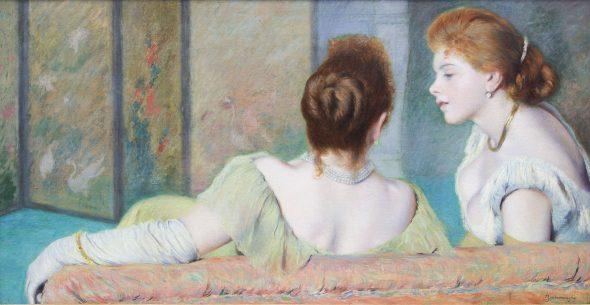 Federico Zandomeneghi Sul divano, 1885-1890 circa Olio su tela, 44x87 cm Collezione privata, Italia
