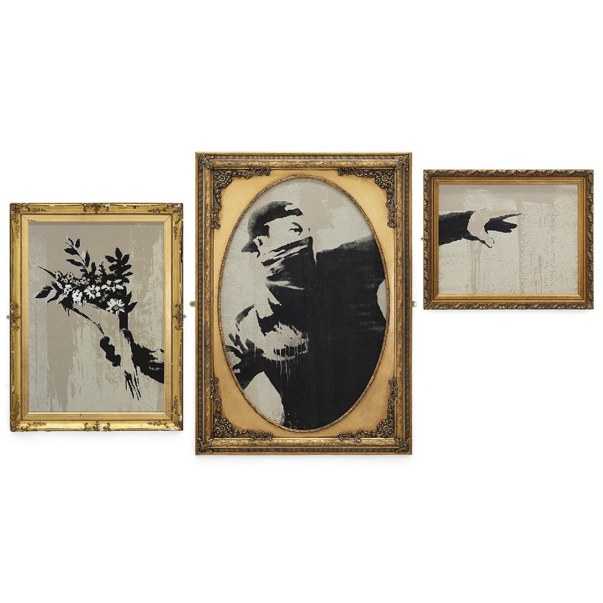 opera di banksy rappresentante un ragazzo che lancia fiori