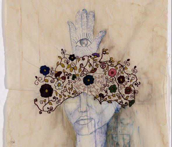 "Zehra Doğan, ""Fatıma'nın Eli"" (Fatma's hand), 2018, Pillow case, tea, coffee, embroidery, ballpoint pen, 58 x 34 cm, location: Diyarbakir Prison, Photo credit: Jef Rabillon"