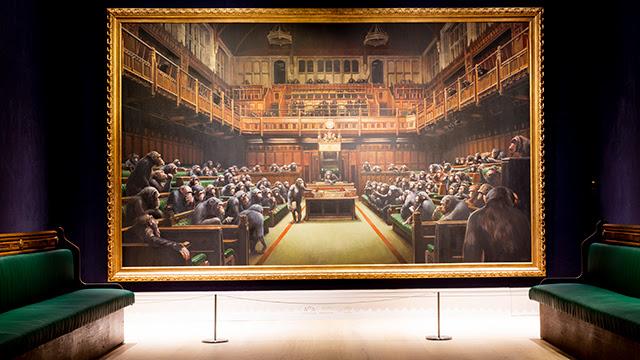 Banksy come Basquiat? Scimmie in Parlamento da 9,9 milioni £! Mega record da Sotheby's a Londra