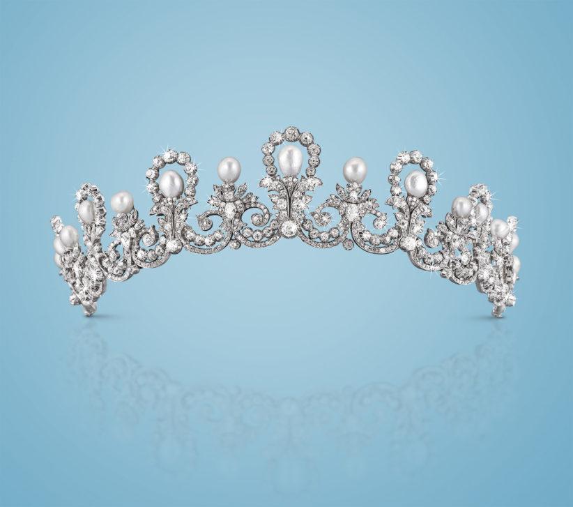 Casa d'Asburgo: diadema con perle orientali e diamanti