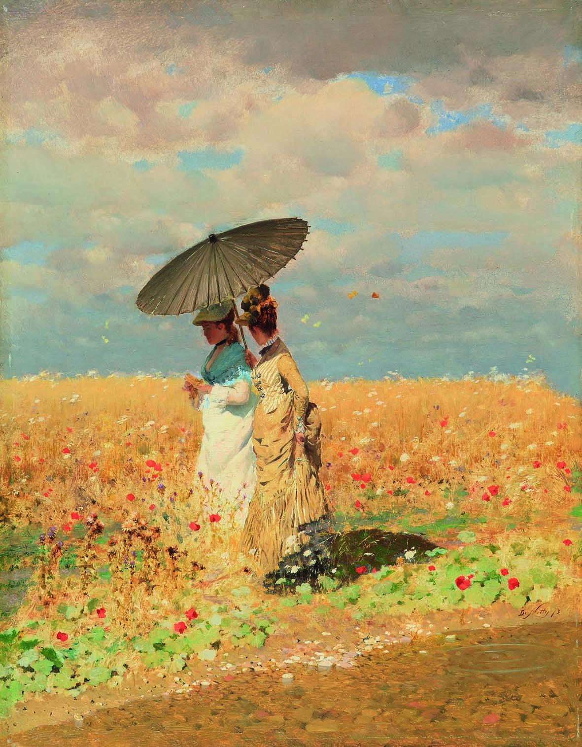 Giuseppe De Nittis: Nel grano, 1873. Olio su tela, cm 33 x 25. Collezione privata