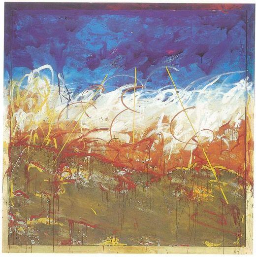 Mario Schifano, Attraverso il deserto senza nome 2, 1985 tecnica mista e sabbia su tela e cornice dipinta, cm 265 x 265