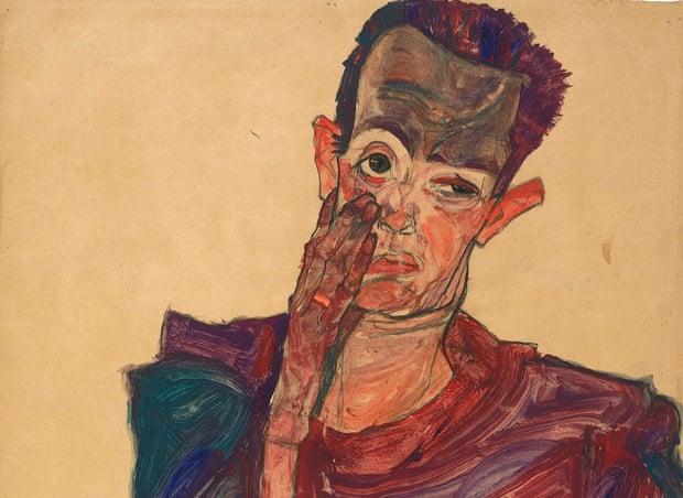 Egon Schiele, Self-Portrait With Eyelid Pulled Down