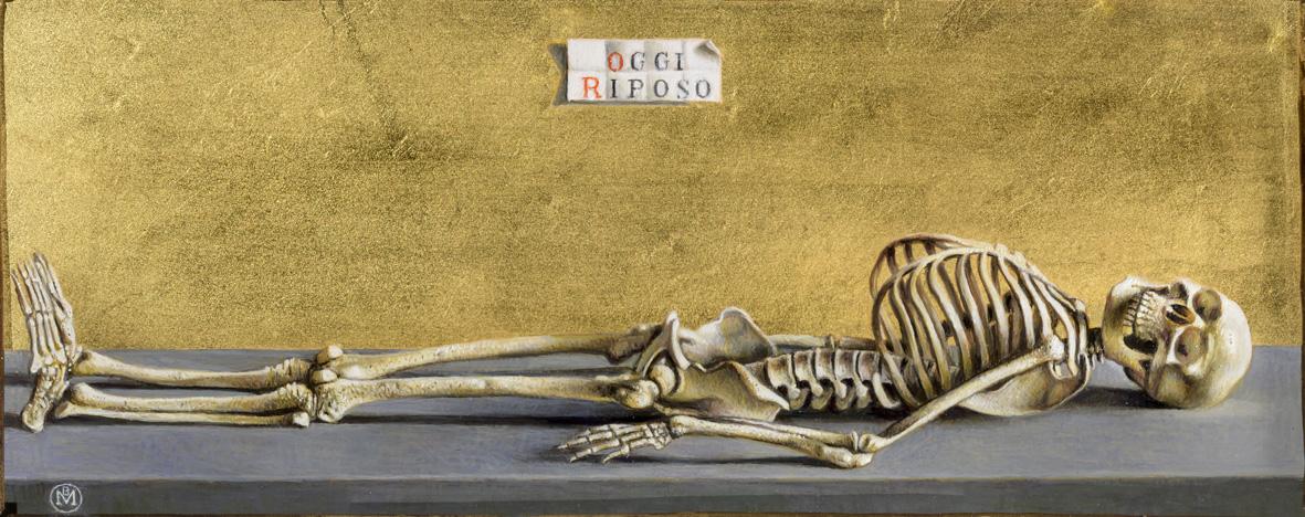 Maurizio Bottoni, Oggi Riposo, olio e tempera su tavola, fondo oro, cm 12 x 18