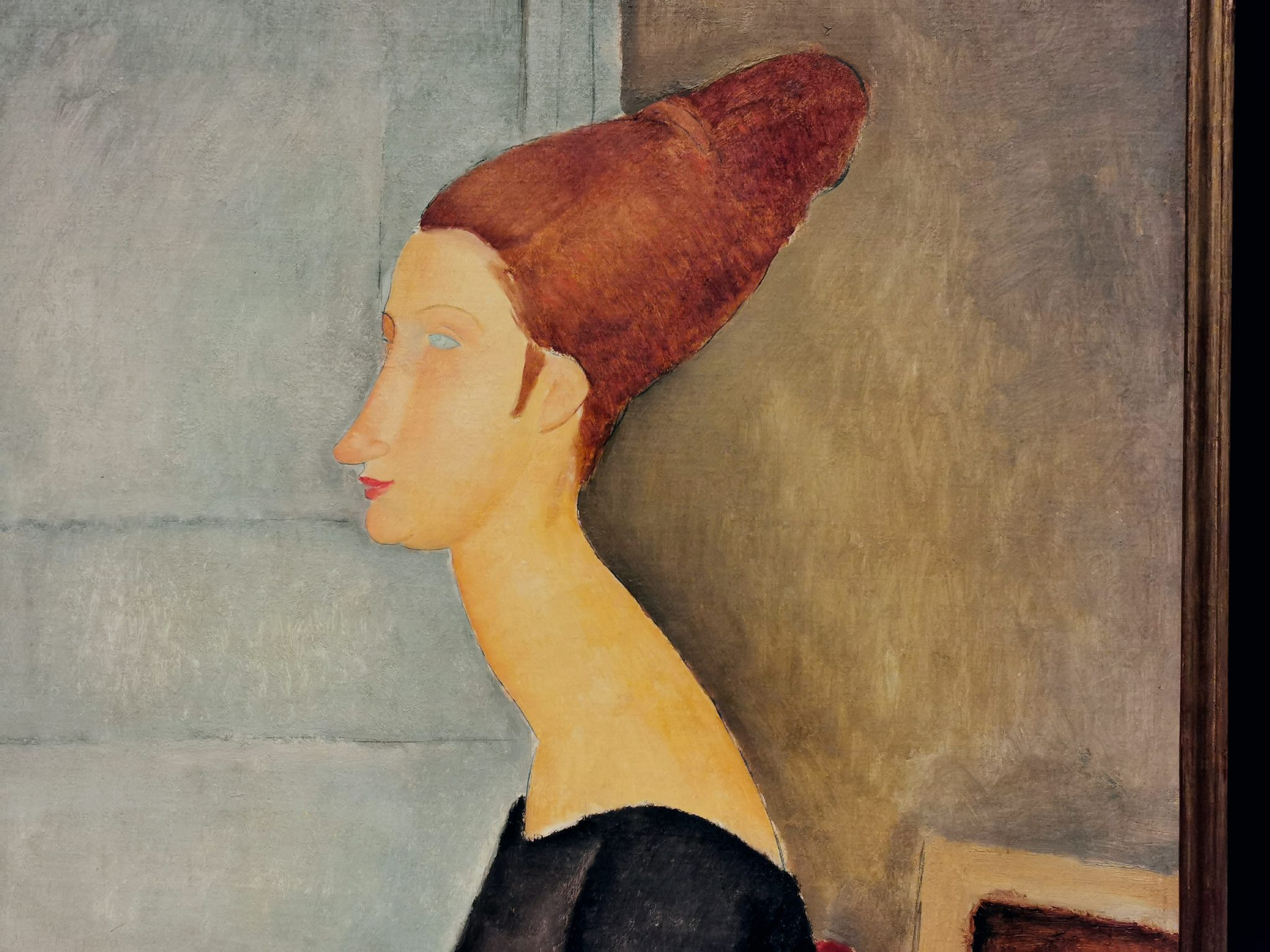 Particolare del dipinto Jeanne Hébuterne, esposto nella mostra per il centenario di Modigliani a Livorno