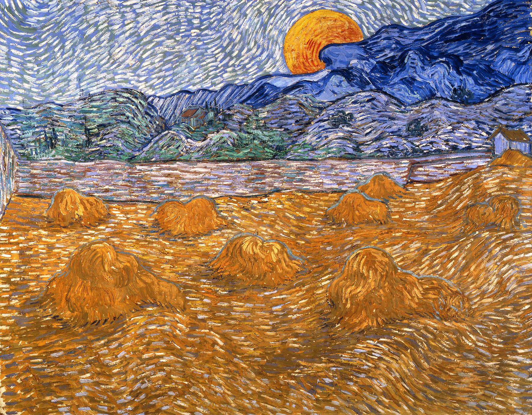 Vincent van Gogh, Paesaggio con covoni e luna nascente, 1889. Otterlo, Kröller-Müller Museum