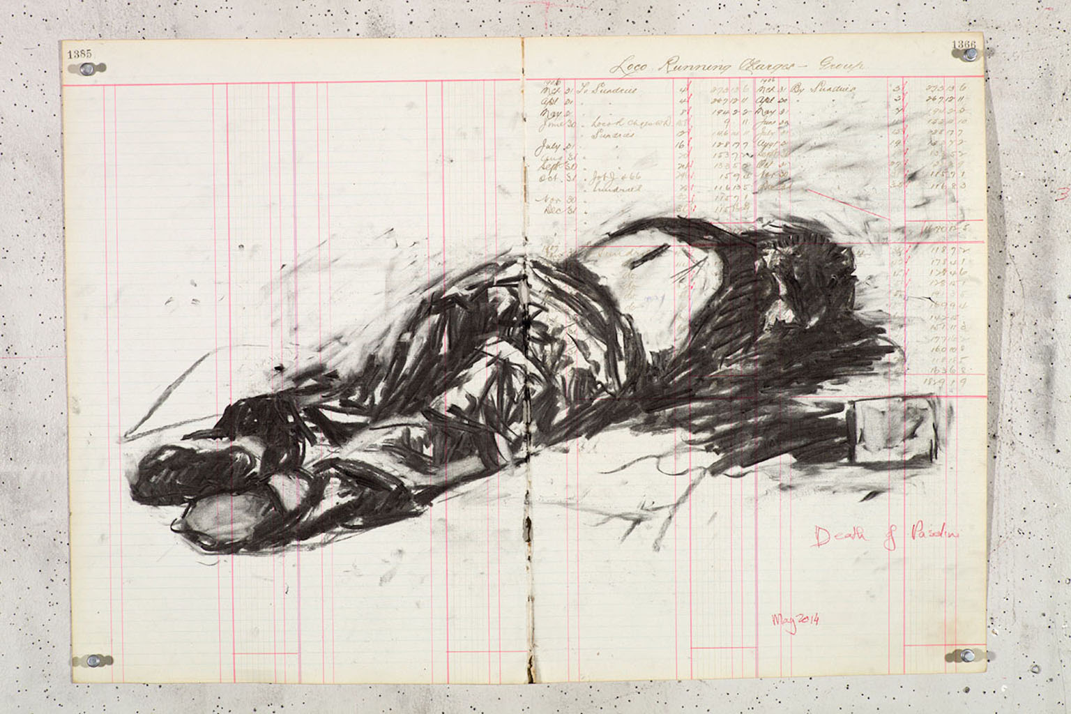 William Kentridge, The death of Pier Paolo Pasolini, Courtesy Galleria Lia Rumma Milano - Napoli