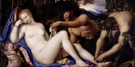 Venere e Cupido con due satiri in un paesaggio Simone Peterzano 1570 - 1573 olio su tela cm 135,2 × 206,9
