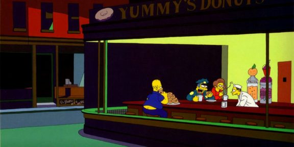 Nighthawks di Eduard Hopper in versione Simpsons